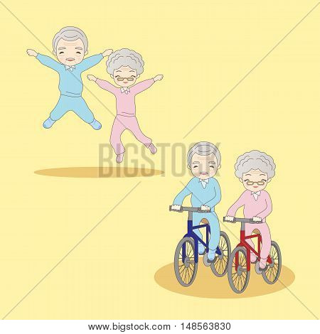 cartoon old couple doing excercisegreat for your design