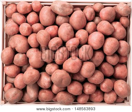 Potatoes in box vegetables food raw background