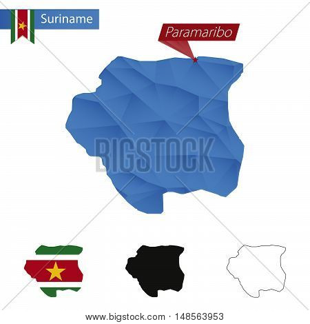 Suriname Blue Low Poly Map With Capital Paramaribo.