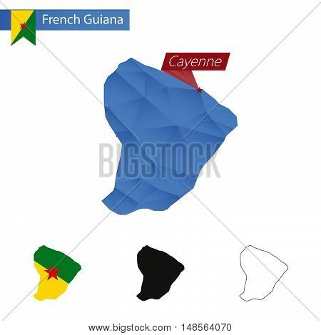 French Guiana Blue Low Poly Map With Capital Cayenne.