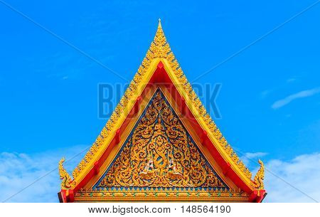 Gabled roof temple and blue sky in thailand