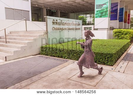 Bangkok Thailand - June 5 2016 : Statue of student or scholar or collegian at the Faculty of Art Chulalongkorn University