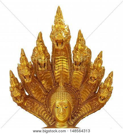 Golden Nacprk head Buddha isolated on white background