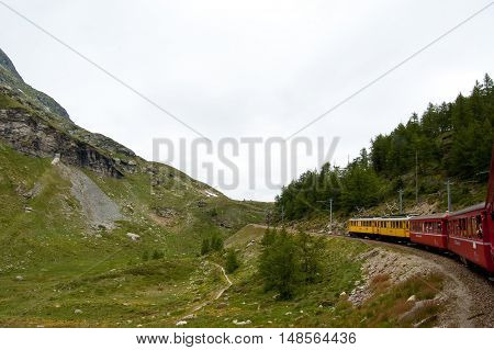 12 july 2009-tirano-italy-Swiss mountain train Bernina Express crossed through the high montains,suisse