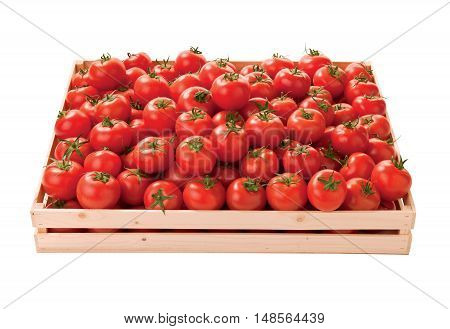 Red tomatoes in a box raw vegetables raw