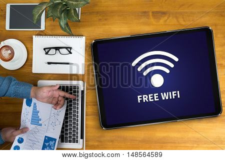 Wifi Signal Connectivity Concept: Free Wifi Area Sign