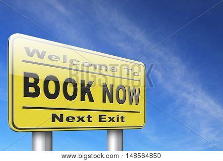 book now online ticket booking for flight holliday or vacation road sign billboard 3D, illustration