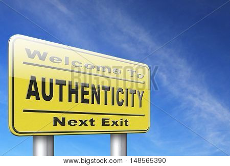 authentic quality guaranteed label authenticity guarantee assurance label for highest product control, road sign billboard. 3D, illustration