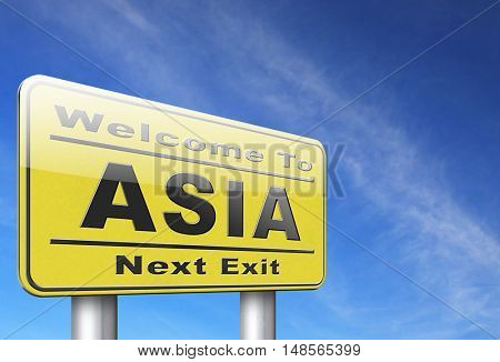 Asia for travel and tourism vacation destination leading to asian continent, road sign billboard. 3D, illustration