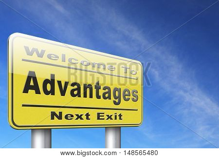 Advantages and benefits, competetive advantage in business and marketing. 3D, illustration