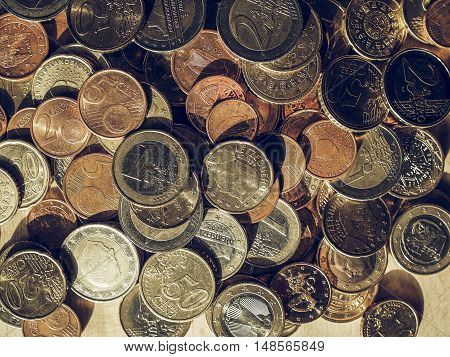 Vintage Many Euro Coins