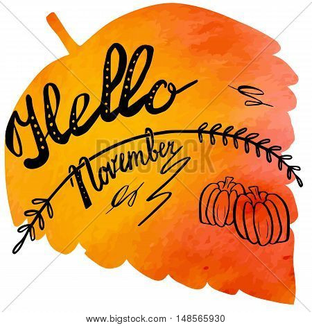 Hand written phrase Hello November on abstract hand painted watercolor texture in leaf. Colorful autumn foliage banner template with hand lettering isolated on white background. Vector illustration.