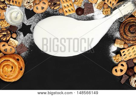 Background Of Cookies, Chocolate, Toffee, Truffles, Nougat And Bun