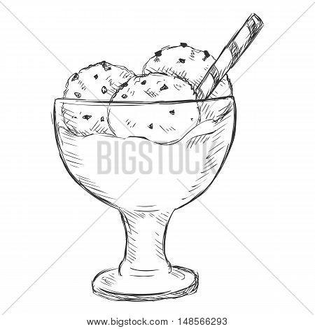 Vector Single Sketch Ice Cream Sundae