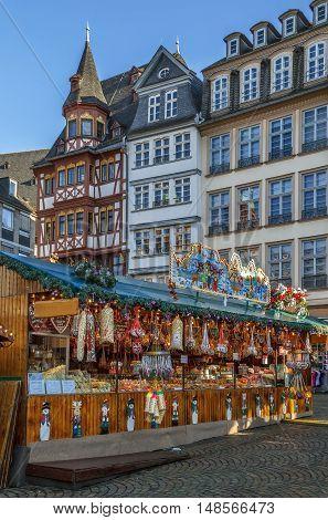 christmas market on Romerberg square Frankfurt Germany