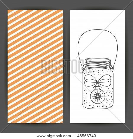 Sketch sphere inside mason jar icon. Merry Christmas season and decoration theme. Card of two pages design. Vector illustration
