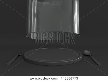 3D rendering open glass lid and tray with spoon and fork on dark grey color