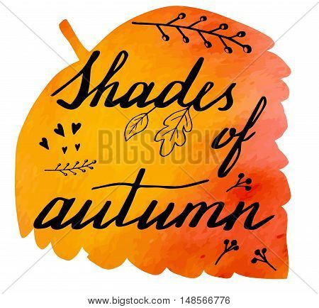 Hand written phrase Shades of Autumn on abstract hand painted watercolor texture in leaf. Colorful autumn foliage banner template with hand lettering isolated on white background. Vector illustration.