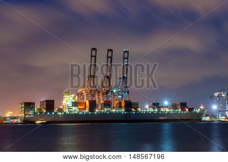 Ship for container with working crane bridge in shipyard for Logistic Import Export background