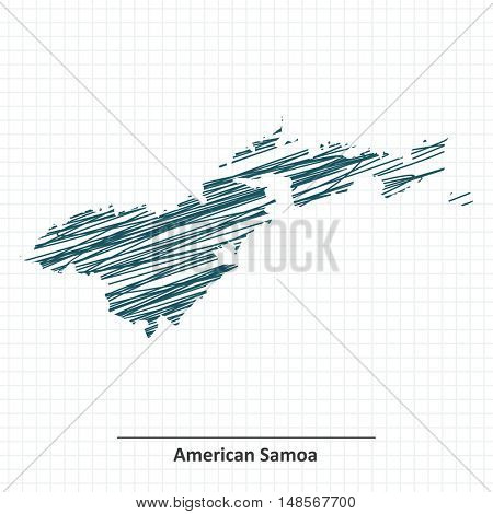 Doodle sketch of American Samoa map - vector illustration