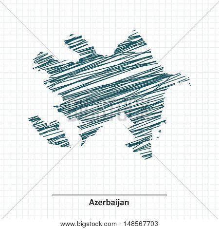 Doodle sketch of Azerbaijan map - vector illustration