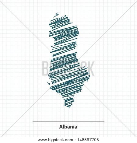 Doodle sketch of Albania map - vector illustration