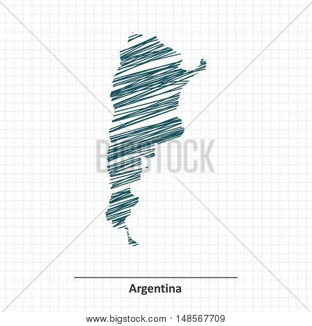Doodle sketch of Argentina map - vector illustration