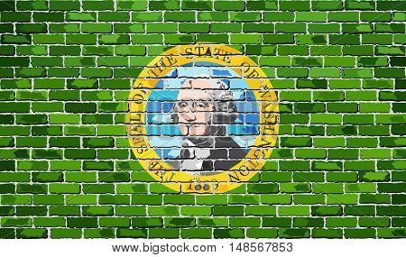 Flag of Washington on a brick wall - Illustration,  The flag of the state of Washington on brick textured background,  Washington Flag in brick style