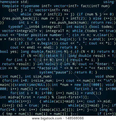 Seamless dark blue pattern with program code