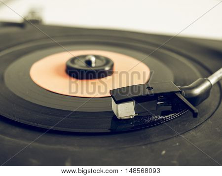 Vintage Looking Vinyl Record On Turntable