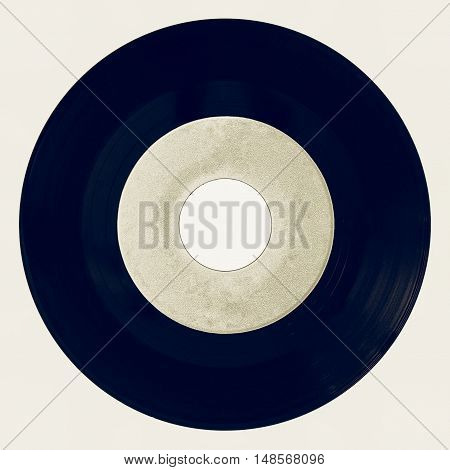 Vintage Looking Vinyl Record Isolated With White Label