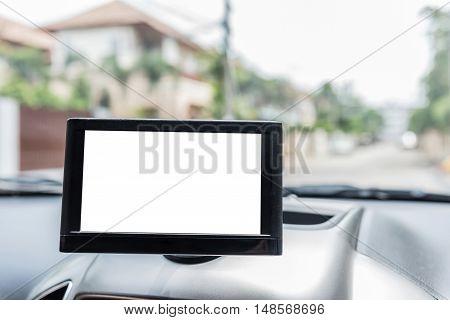 Close up of blank screen Gps navigator in car.