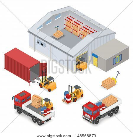 Isometric warehouse interior, inside industrial scales, storage racks. The adjacent area are trucks, forklifts, container and office - vector illustration