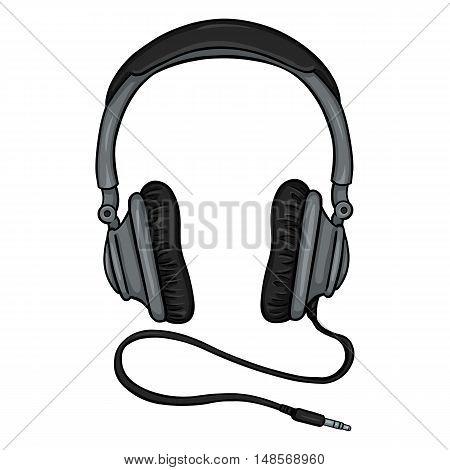 Vector Single Cartoon Circumaural Headphones With Wire