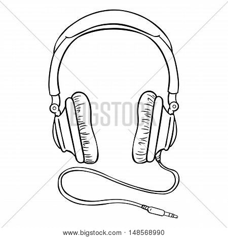 Vector Single Lineart Circumaural Headphones With Wire
