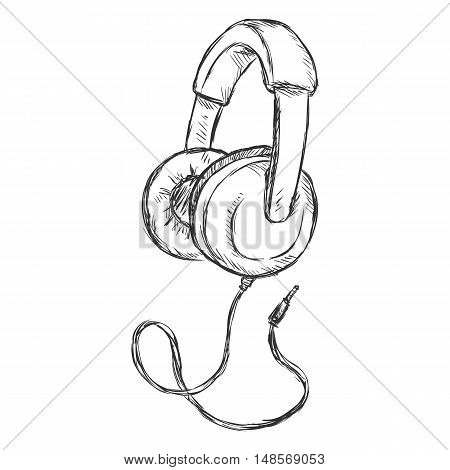 Vector Single Sketch Circumaural Headphones With Wire.