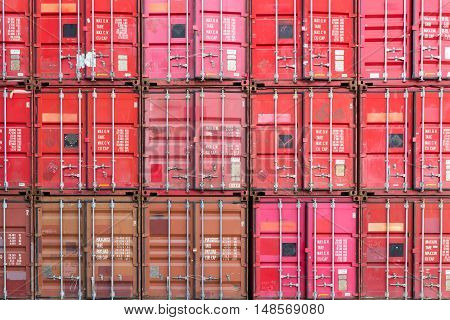 Freight shipping containers at the docks for transportation