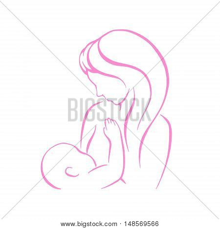 Breast feeding vector sign. Mother holding newborn baby in arms, abstract symbol of woman breastfeeding baby. Mother breastfeeding her baby stylized symbol. Vector