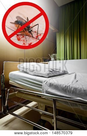 Zika virus. Clean empty sickbed in a hospital ward with stop mosquito sign. Conceptual about preventing Zika virus danger.