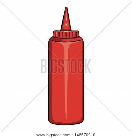 Vector Cartoon Red Plastic Bottle With Ketchup