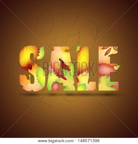 Autumn sale vector banner with colorful leaves. Suitable for your covers, poster, banner, offer, coupon, business promote.