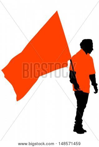Man with flags on white background