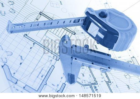 architectural blueprint - house plan, calipers & tape measure