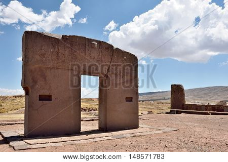 Ruins of Tiwanaku. The Gate of the Sun. Tiwanaku is a Pre-Columbian archaeological site in western Bolivia.