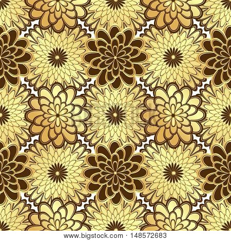Floral golden seamless pattern with gold and brown vintage flowers vector