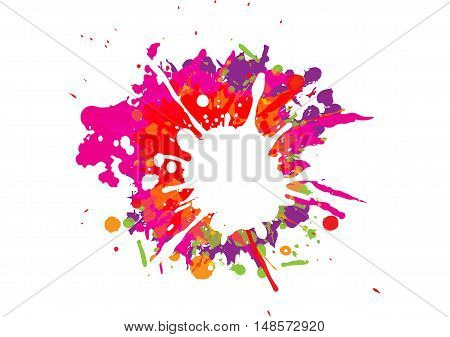 Colorful paint splatters.Paint splashes set. Vector illustration.