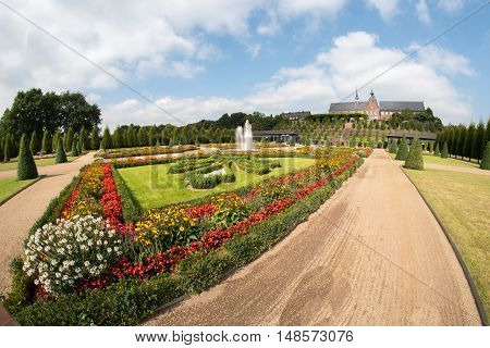 ultra wide angle of public park and ornamental garden