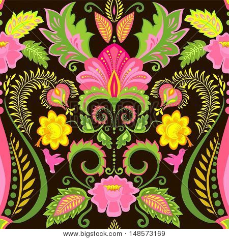 Vintage ornate colorful wallpaper with floral exotic pattern and feathers