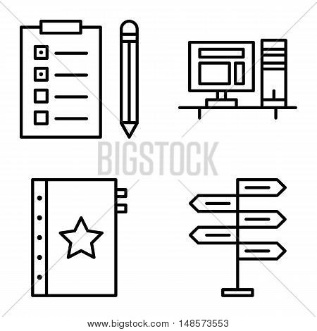Set Of Project Management Icons On Decision Making, Task List And Quality Management. Project Manage