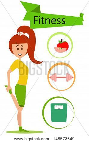 Vector cartoon fit woman stretching and three fitness icon.